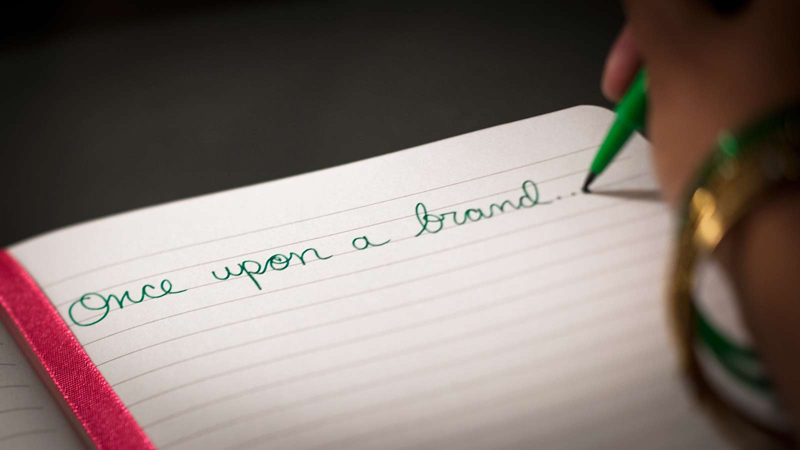 "photo of ""once upon a brand..."" written in a diary"