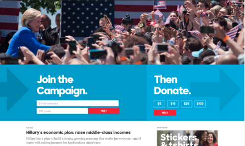 Hillary Clinton's old website design. Join and donate. Why? I hope you know, because it's nowhere on the website.